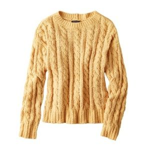 American Eagle Mustard Yellow Cable Knit Sweater